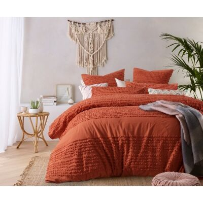 Vintage Design Homeware Betty Washed Cotton Quilt Cover Set, Queen, Tobacco