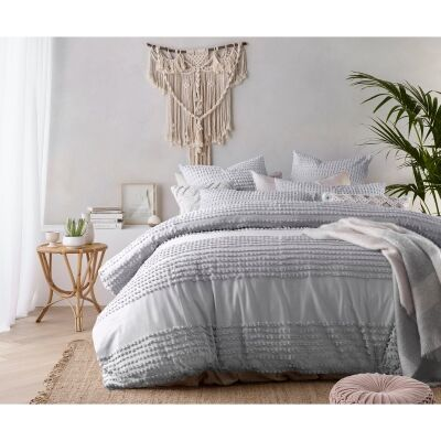 Vintage Design Homeware Betty Washed Cotton Quilt Cover Set, Queen, Silver