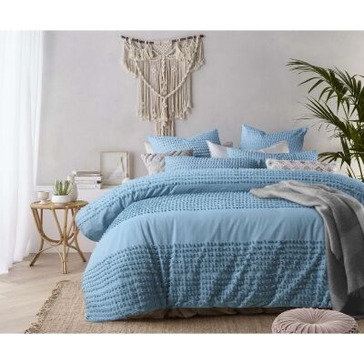 Vintage Design Homeware Betty Washed Cotton Quilt Cover Set, King, Aquatic