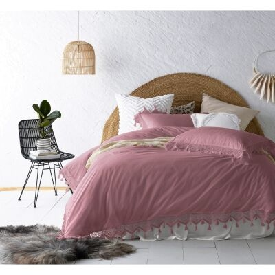 Vintage Design Homeware Gypsy Tassel Washed Cotton Quilt Cover Set, Double, Smokey Rose