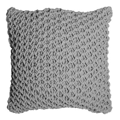 Zara Hand Knitted Cotton Scatter Cushion, Grey