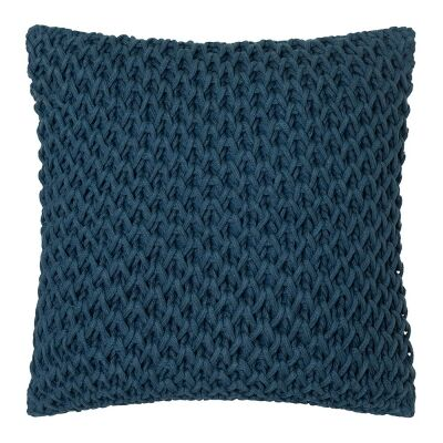 Zara Hand Knitted Cotton Scatter Cushion, Teal