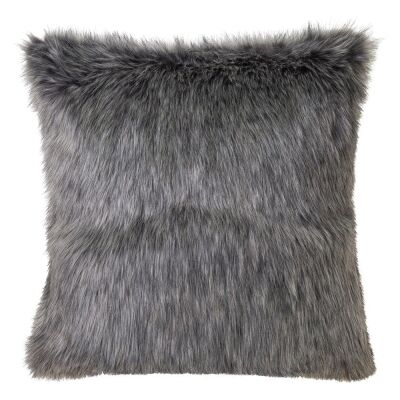 Grey Wolf Faux Fur Scatter Cushion