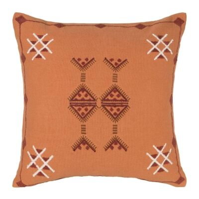 Arizona Embroidered Cotton Scatter Cushion, Apricot