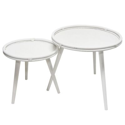 Rumba 2 Piece Rattan Round Side Table Set