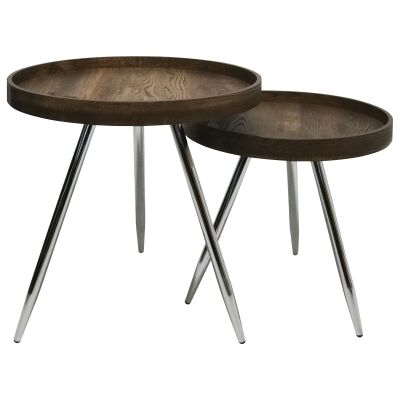 Legacy 2 Piece Wooden Tray Top Round Nesting Side Table Set