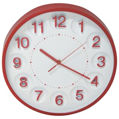 Kate Round Wall Clock, 31cm, Red