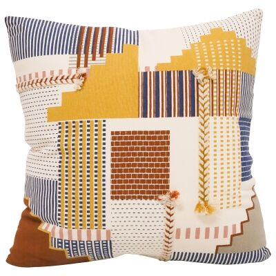 Patch Embroided Cotton Scatter Cushion