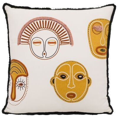 Tribal Faces Cotton Scatter Cushion