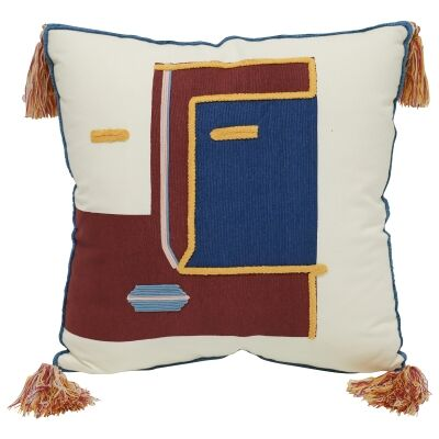 Mask Embroided Cotton Scatter Cushion