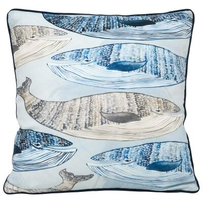 Swimming Whales Cotton Scatter Cushion, 45x45cm
