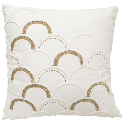 Scallop Embroided Cotton Scatter Cushion