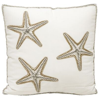 Starfish Embroided Cotton Scatter Cushion