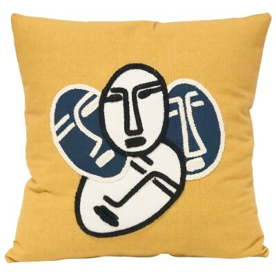 Faces Embroided Cotton Scatter Cushion