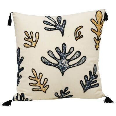 Fern Embroided Cotton Scatter Cushion