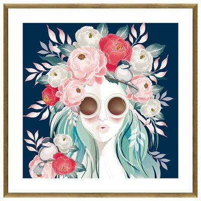 """""""Blooming Blue"""" Framed Canvas Wall Art, 100cm"""