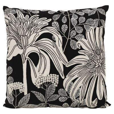 Aliza Floral Embroidered Cotton Scatter Cushion, 55x55cm