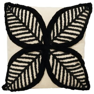 Janelle Flower Embroidered Cotton Scatter Cushion