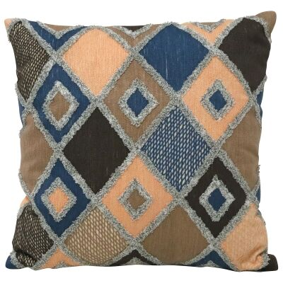 Diamond Embroidered Cotton Scatter Cushion, 45x45cm