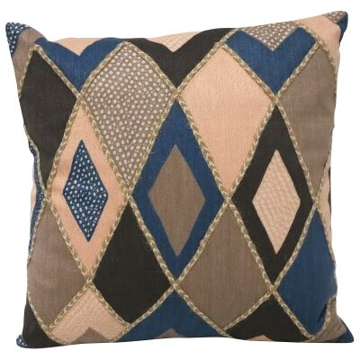 Diamond Embroidered Cotton Scatter Cushion, 50x50cm