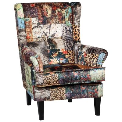 Jurby Fabric Wing Back Armchair, Patchwork
