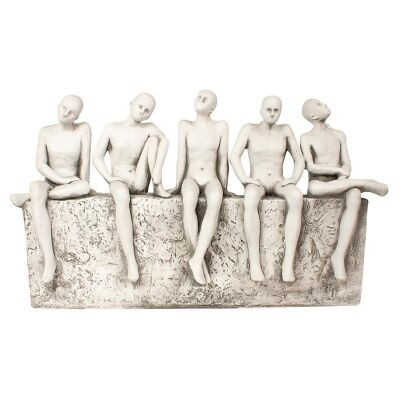 Sitting Thinking Men Fibre Clay Outdoor Statue