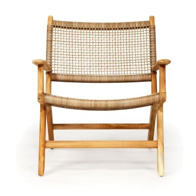 Zan Teak Timber & Woven Cord Lounge Armchair, Washed Grey / Natural