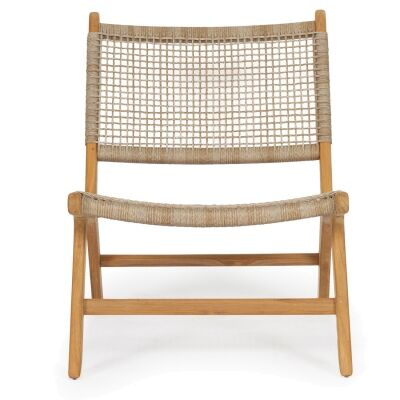 Zan Teak Timber & Woven Cord Lounge Chair, Washed Grey / Natural