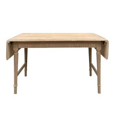 Emmelise Recycled Pine Timber Drop Leaf Extensible Dining Table, 140-180cm