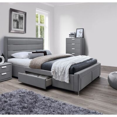 Alora Fabric Bed with Drawers, Queen