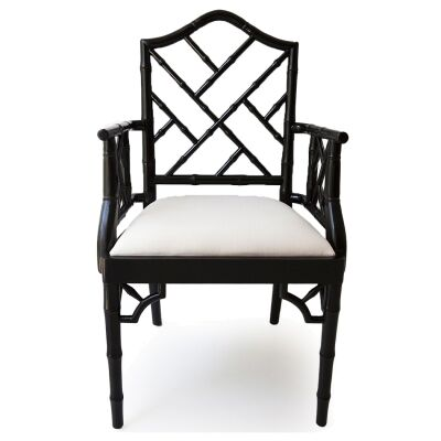 Chippendale Mahogany Timber Dining Armchair, Black