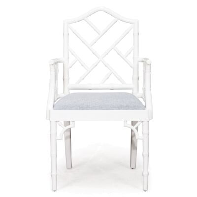Chippendale Mahogany Timber Dining Armchair, White