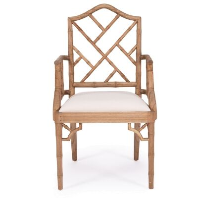 Chippendale Mahogany Timber Dining Armchair, Weathered Oak