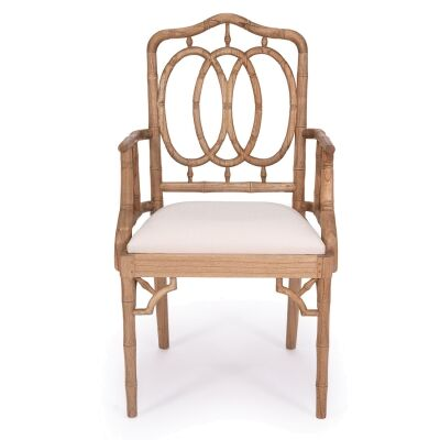 Chippendale Ring Mahogany Timber Dining Armchair, Weathered Oak