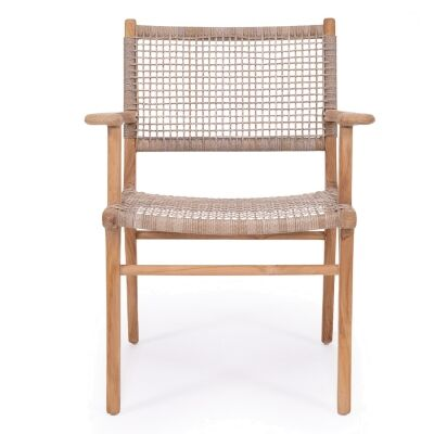 Zan Teak Timber & Woven Cord Dining Armchair, Washed Grey / Natural