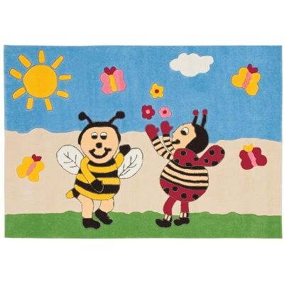Arte Espina Bumble Bee and Lady Bird Hand Tufted Kids Rug, 160x110cm