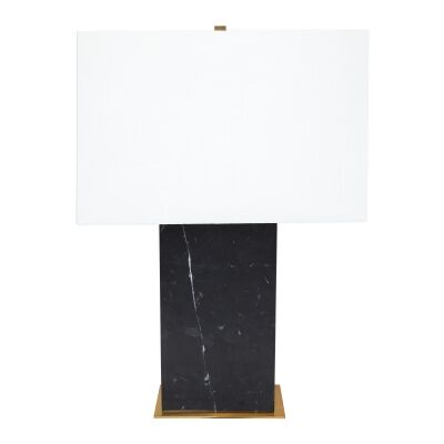 Dominique Marble Stone Base Table Lamp, White Shade