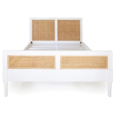 Hamilton Timber & Rattan Bed, Queen, White