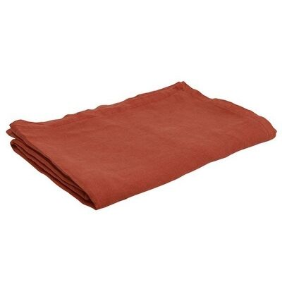 Everyday French Linen Square Tablecloth, 150x150cm, Rust