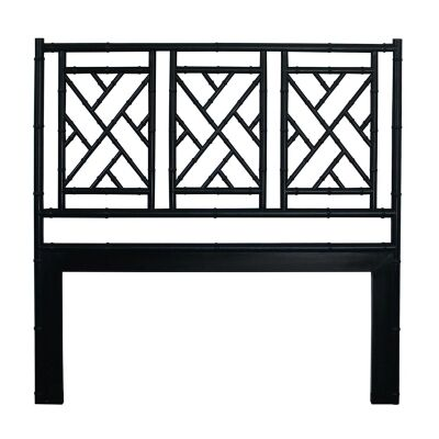 Chippendale White Cedar Timber Bed Headboard, Queen, Black