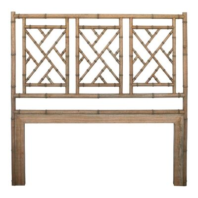 Chippendale White Cedar Timber Bed Headboard, Queen, Weathered Oak
