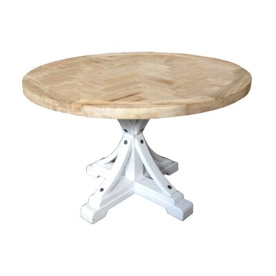 Leclerc Reclaimed Elm Timber Round Dining Table, 150cm, Natural / White