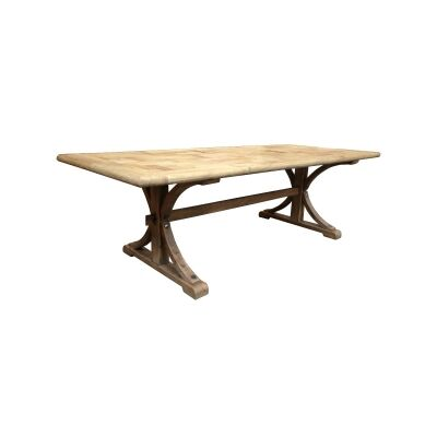 Leclerc Reclaimed Elm Timber Trestle Dining Table, 250cm, Natural