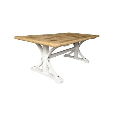Leclerc Reclaimed Elm Timber Trestle Dining Table, 250cm, Natural / White