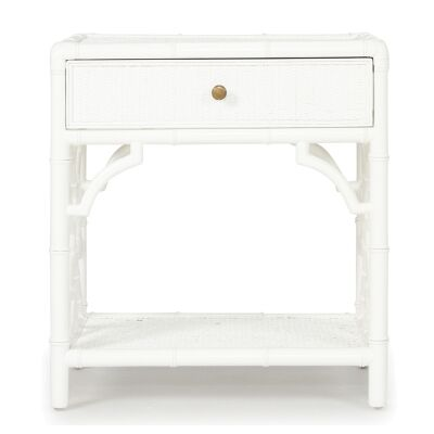 Chippendale Mahogany Timber & Rattan Bedside Table, White