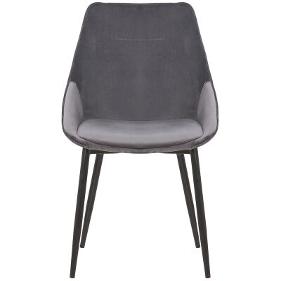 Bellagio Commercial Grade Velvet Fabric Dining Chair, Chacoal