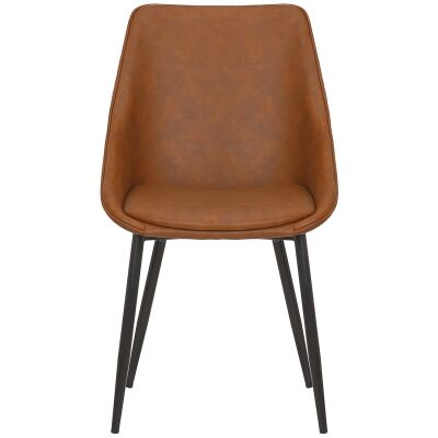 Bellagio Commercial Grade Faux Leather Dining Chair, Vintage Tan