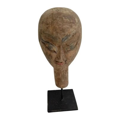 Gundul Carved Wooden Mask Decor on Stand, Small