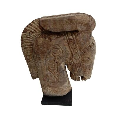 Kuda Carved Wooden Horse Head Sculpture on Stand