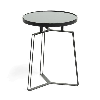 Roti Glass Topped Steel Round Side Table